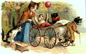 vintage-cat-art-mother-cat-with-kittens-dressed-with-baby-carriage